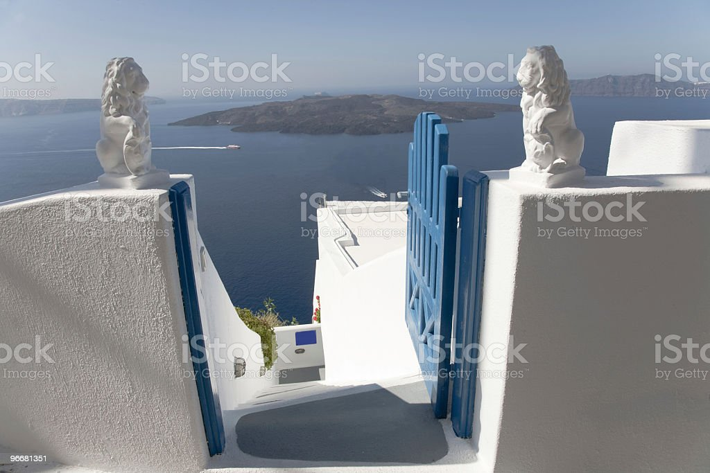 Lions in Santorini royalty-free stock photo