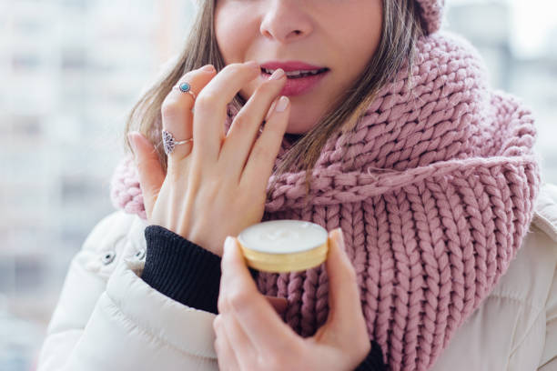 Cuidado de los labios - foto de stock