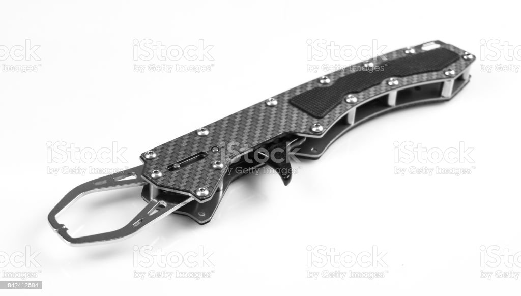 Lip grip. Fishing gripper, isolated on white stock photo