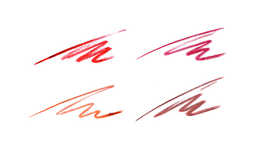 Collection of lip pencil strokes isolated on white