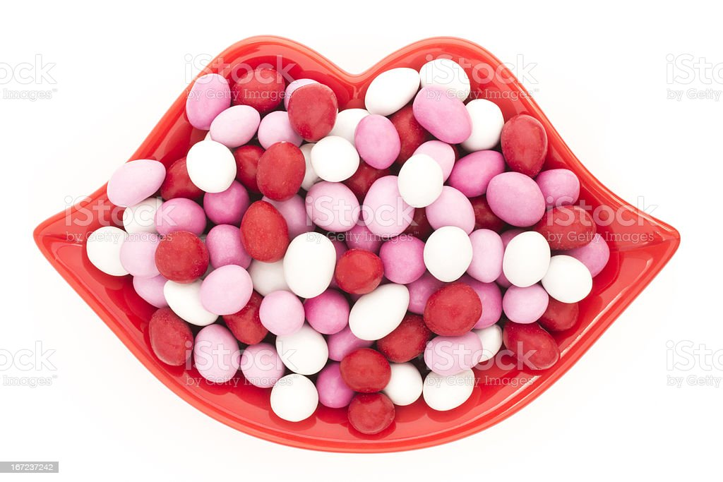 Lip Shaped Candy Dish royalty-free stock photo
