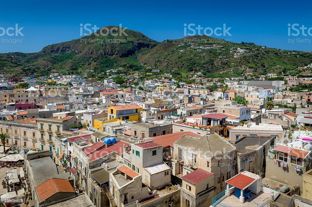 Lipari city view stock photo
