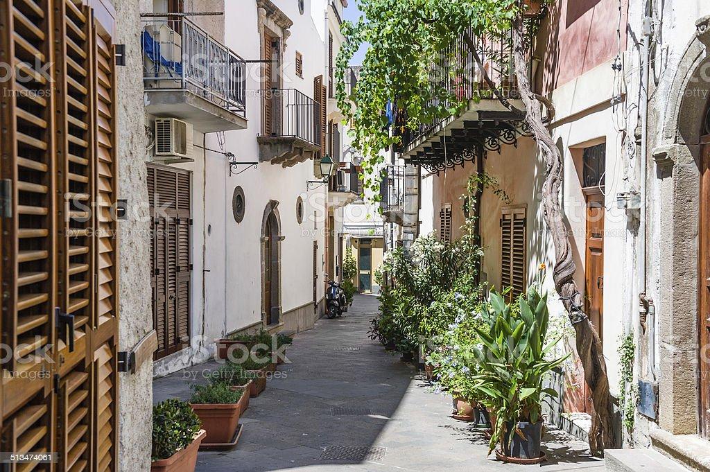 Lipari colorful old town narrow streets stock photo
