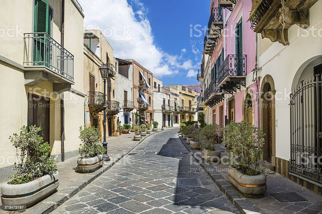 Lipari colorful old town streets stock photo