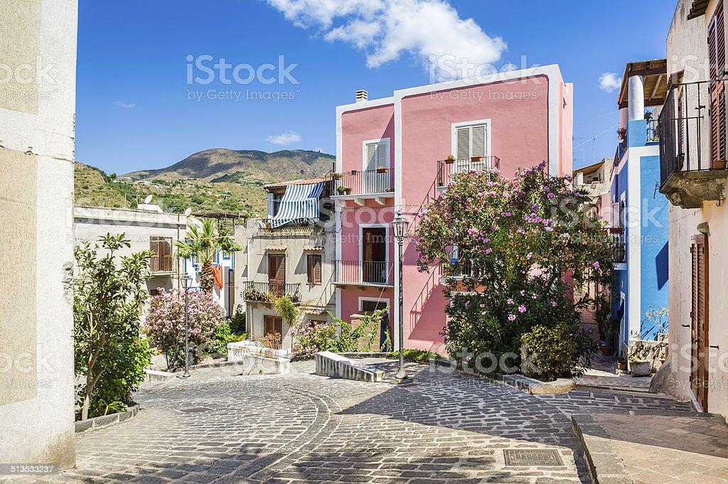 Lipari old town streets stock photo