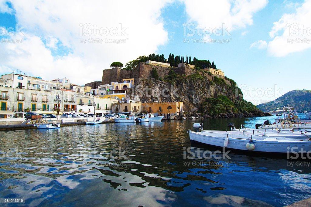 Lipari, Sicily Panorama: Cityscape, Seascape, Harbor and Hill stock photo