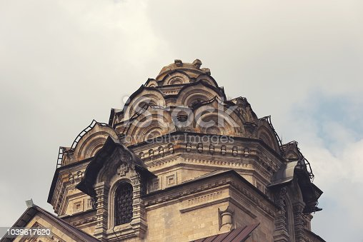 istock Lipetsk, Russia September 14, 2018: The Church of Dimitry Thessaloniki in Berezovka, the Christian Church, the Christian and Catholic end of the 19th century . 1039617620