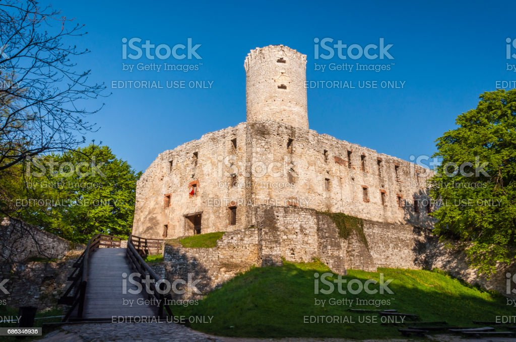 Lipowiec Castle - Ruins of the Kraków Bishops castle in the Polish Jura in the village of Babice. stock photo