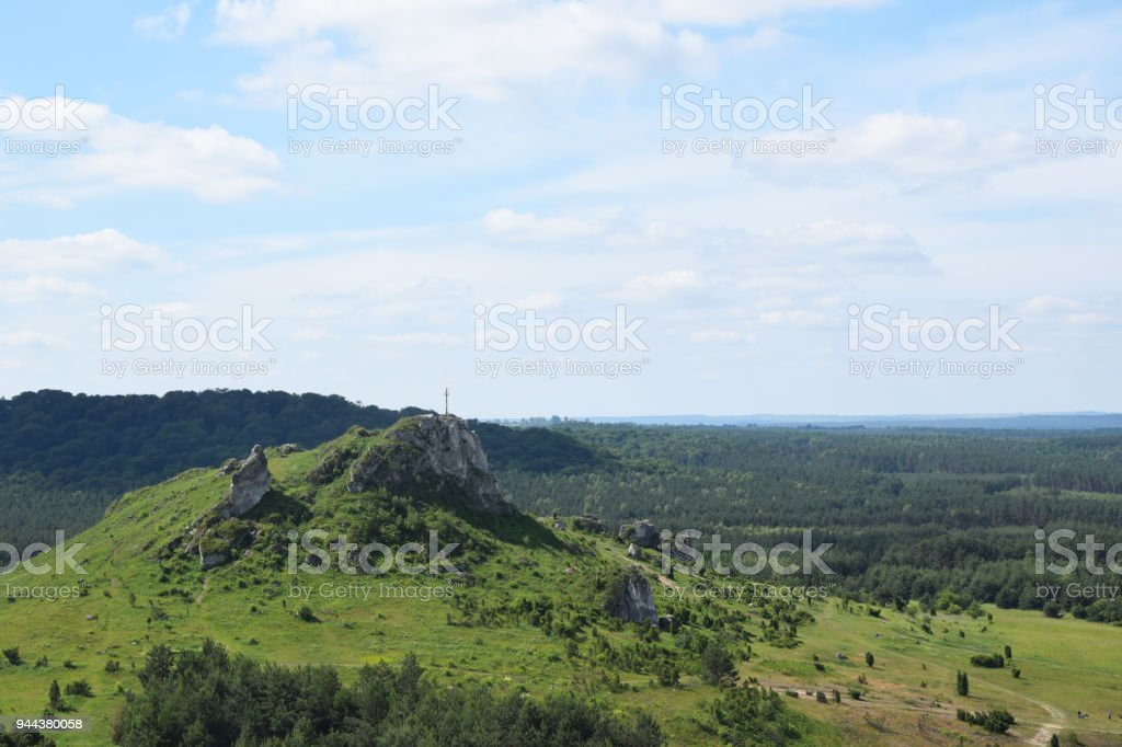 Lipowki mountain in Olsztyn near Czestochowa, Poland. stock photo