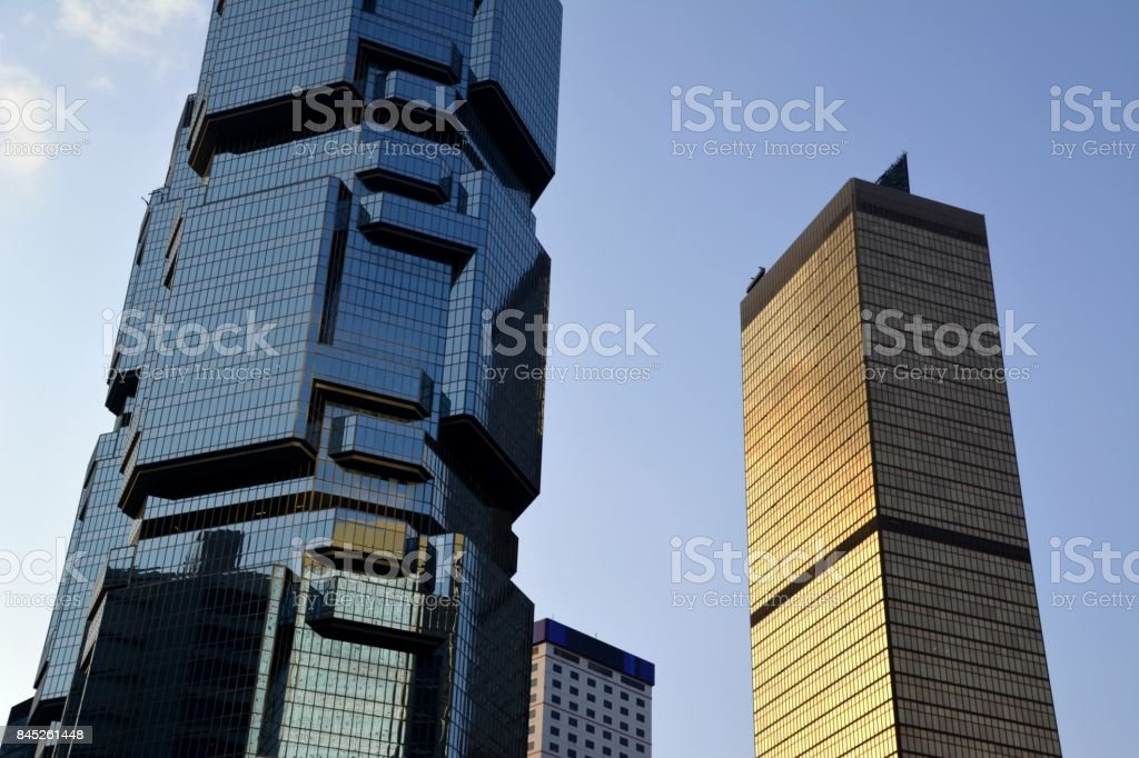 Lippo Centre and Far East Finance building, postmodern architecture in Hong Kong stock photo