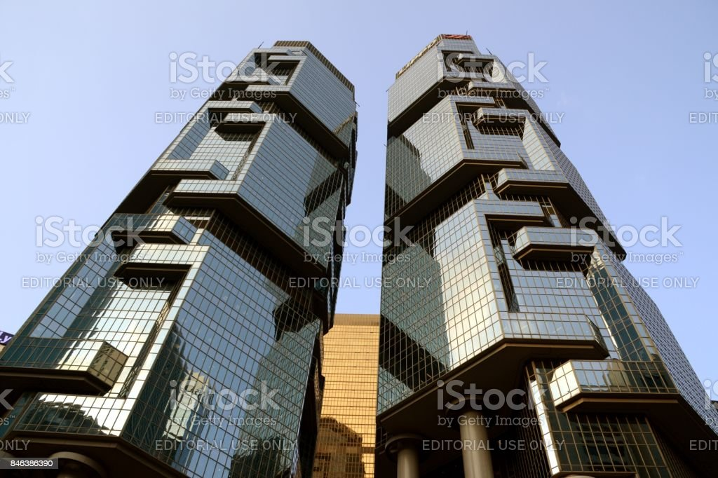 Lippo Centre building, postmodern architecture in Hong Kong stock photo