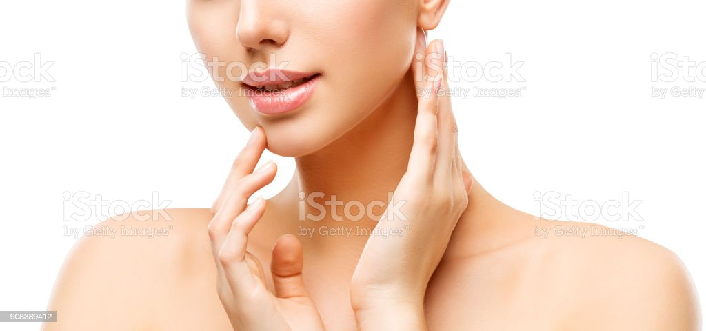 Lips and Face Skin Care, Woman Beauty Makeup and Treatment, Model Touching Lip and Neck by Hands stock photo