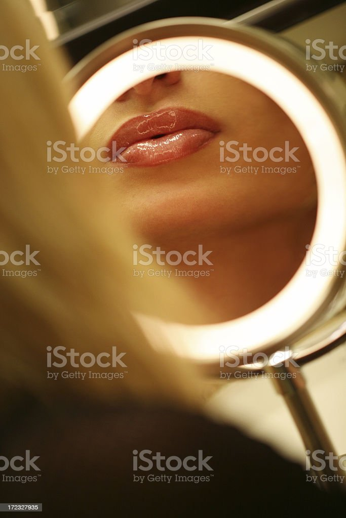 Lips and make up mirror royalty-free stock photo