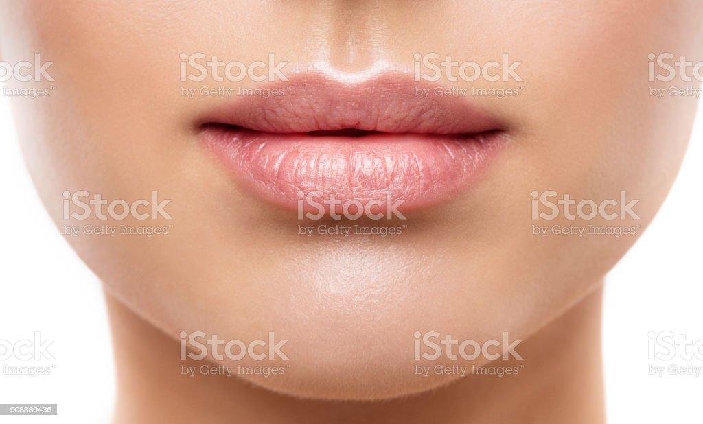 Lips Beauty Closeup, Woman Natural Face Make Up, Beautiful Full Lip and Pink Lipstick stock photo