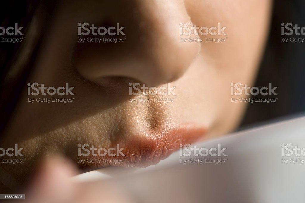 Lips drinking stock photo