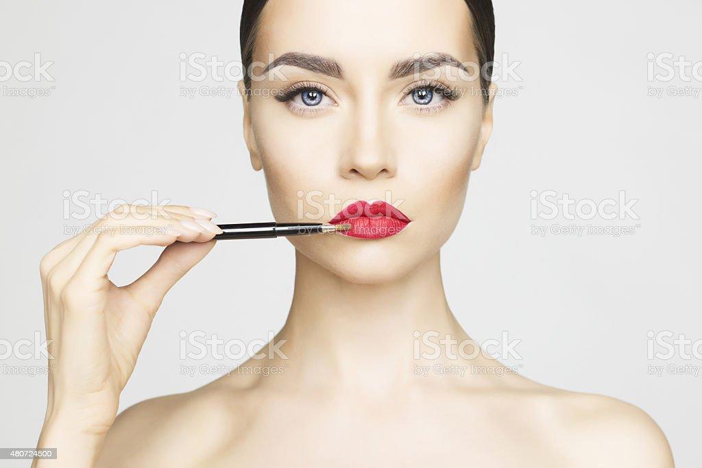 Lips makeup stock photo