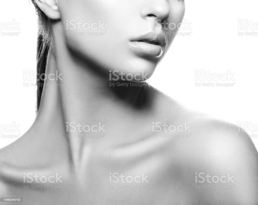 Lips neck and shoulder of beauty model girl natural nude