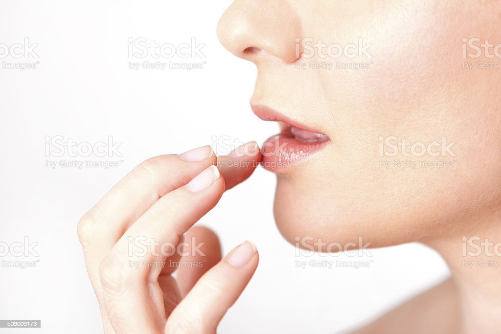 Lips of a young woman stock photo