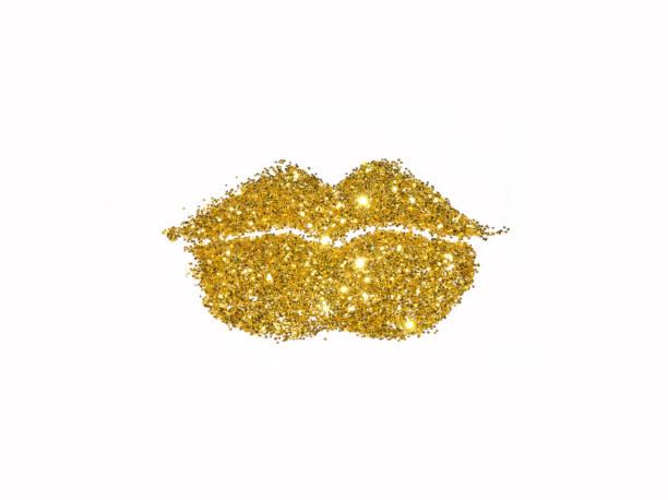 Brilham de lábios de glitter dourado sobre fundo branco - foto de acervo