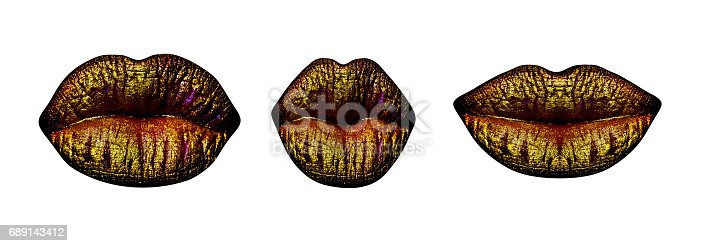 istock Lips with gold lipstick isolated on white background. Closed female sensual mouth or kiss. Sensual set of three pairs of lips with fashionable luxury make-up. Lips gold set. Design of kiss print 689143412