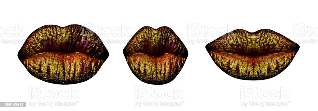 Lips with gold lipstick isolated on white background. Closed female sensual mouth or kiss. Sensual set of three pairs of lips with fashionable luxury make-up. Lips gold set. Design of kiss print stock photo