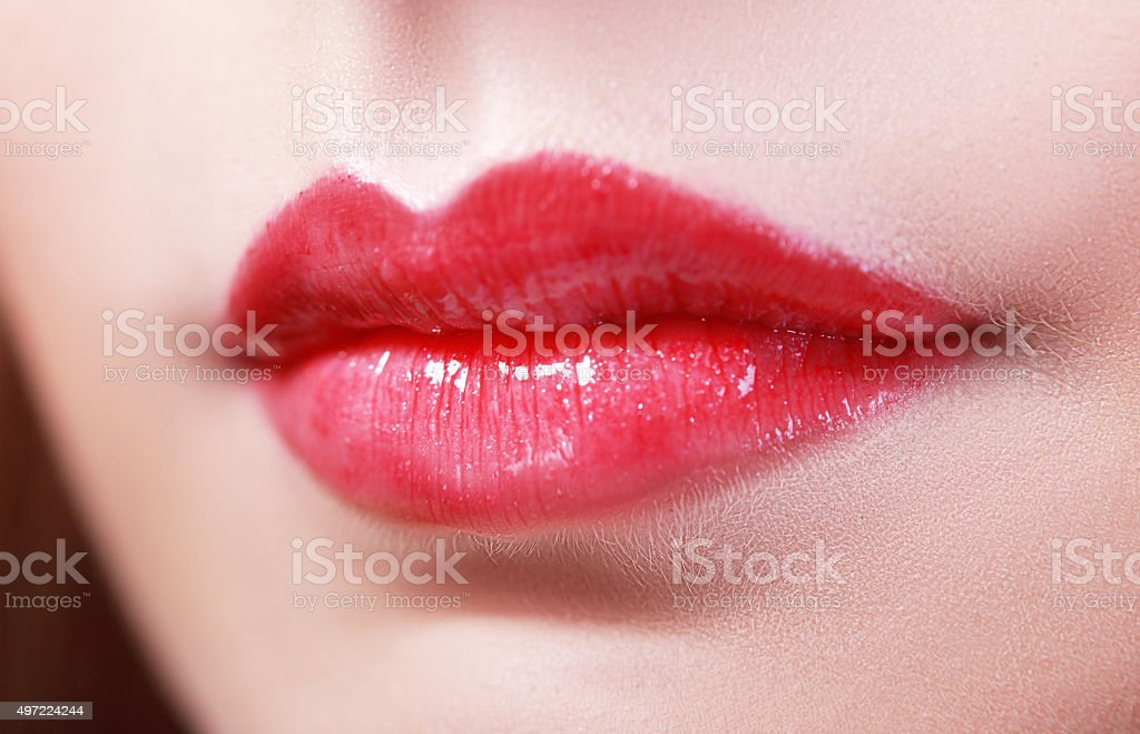 lips with red stock photo