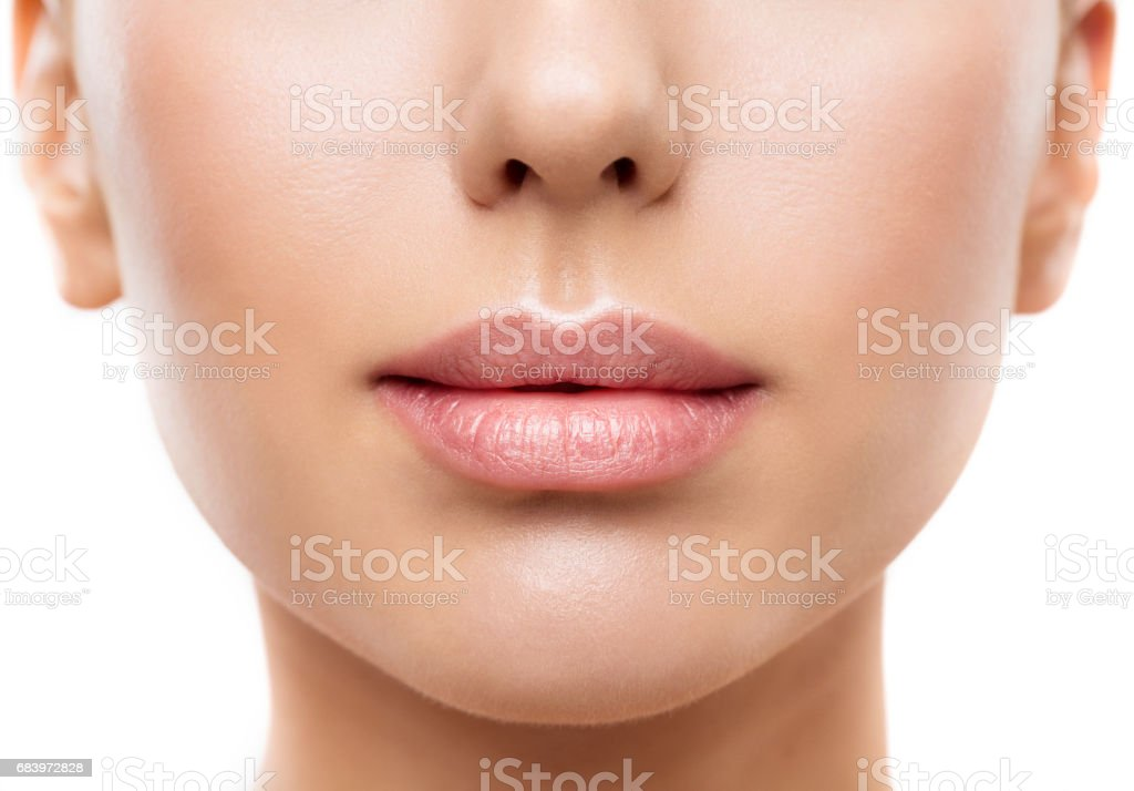 Lips, Woman Face Mouth Beauty, Beautiful Skin and Full Lip Closeup, Pink Lipstick stock photo