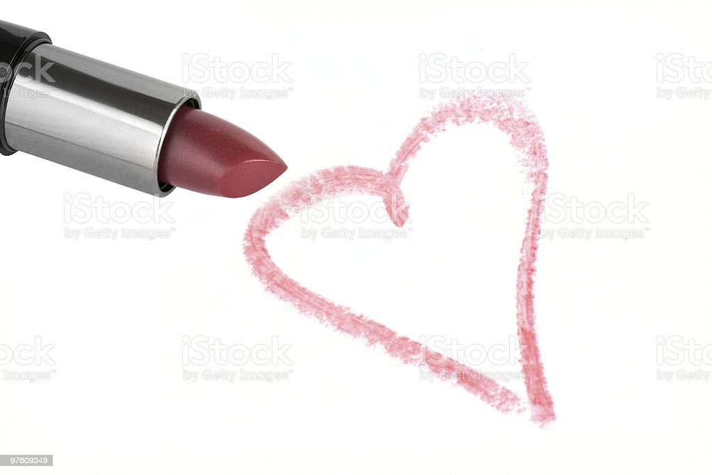 Lipstick and heart royalty-free stock photo