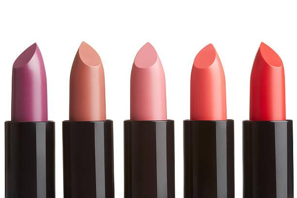 Lipstick collection on white stock photo
