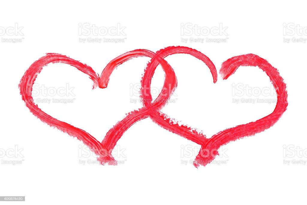 Lipstick drawing hearts zbiór zdjęć royalty-free