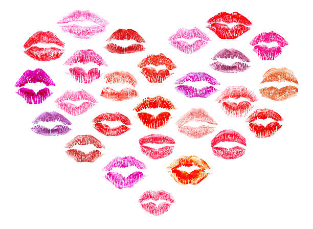 lipstick kisses heart - i love you stock photos and pictures