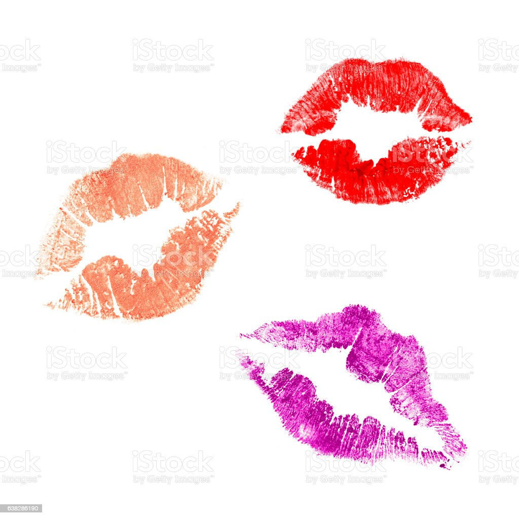 Lipstick kisses on white stock photo