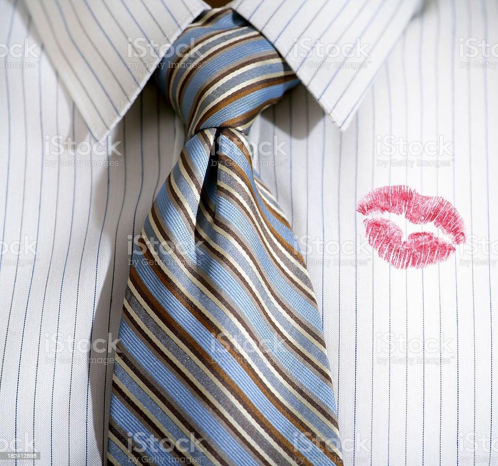 Lipstick on a shirt royalty-free stock photo