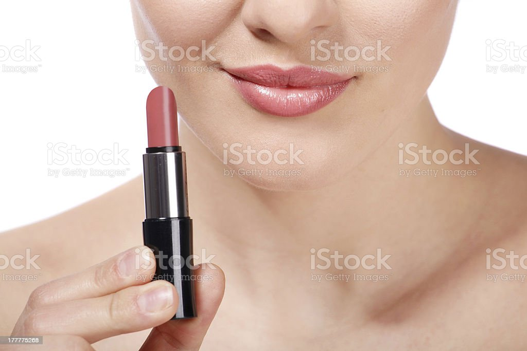 lipstick on lips royalty-free stock photo