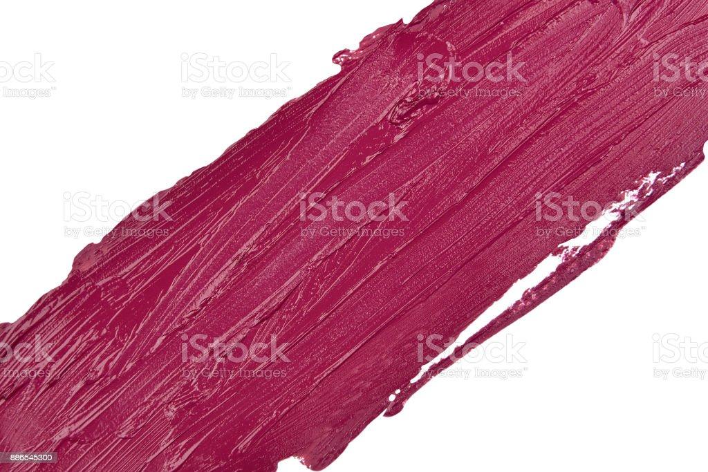 Lippenstift verschmiert Textur auf weißem Hintergrund (Pflaume Farbe) – Foto