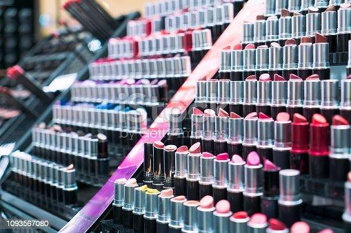 Lipsticks, beauty products on shelf in beauty store