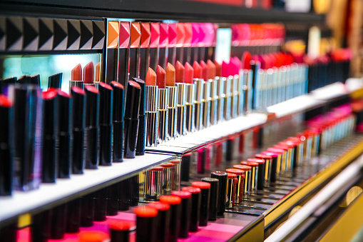 Close-up of large group of lipsticks in a store