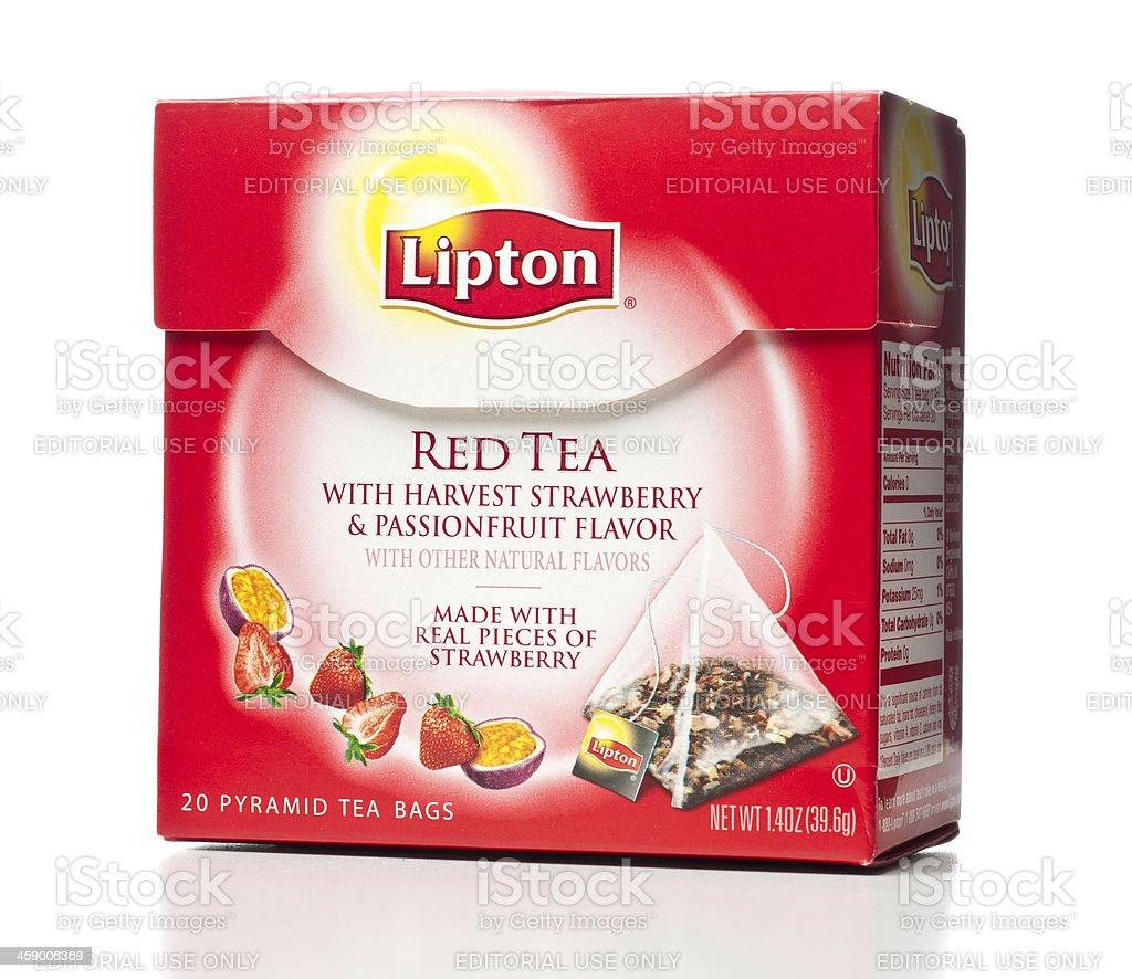 Lipton Red Tea box with Pyramid Bags stock photo