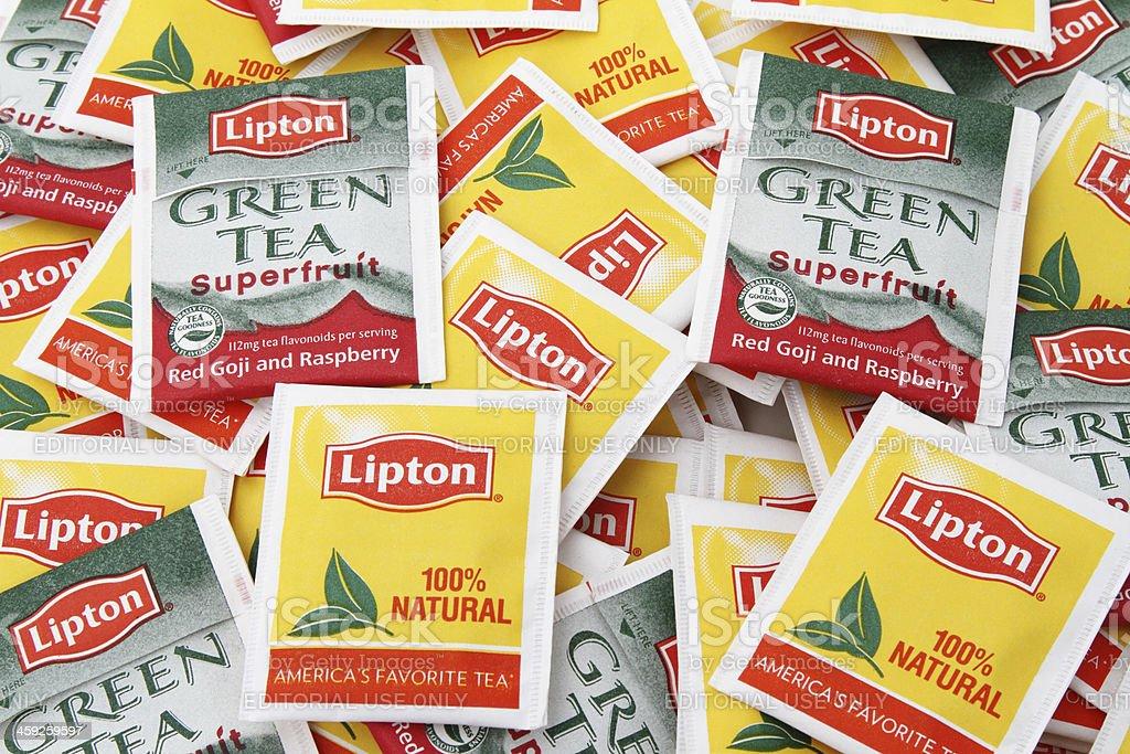 Lipton Tea Bags Regular and GreenTea stock photo