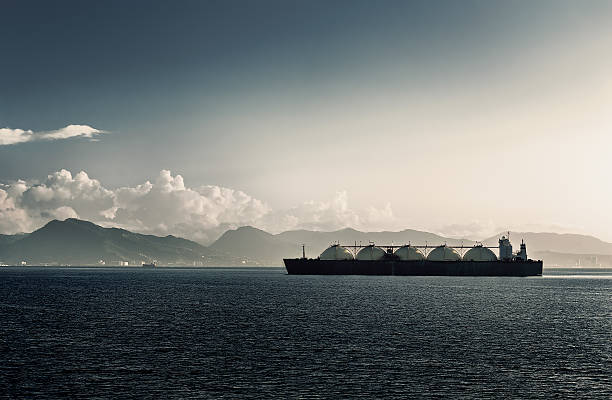 Liquefied natural gas lng carrier ship with five tanks stock photo