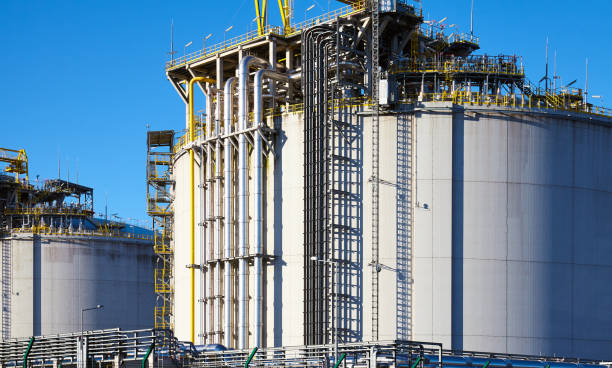 Liquefied natural gas storage tanks. stock photo