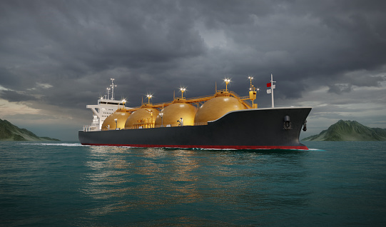 3D rendering of LNG tanker ship sailing in ocean during night. Computer generated image of a gas tanker in the sea.