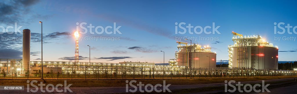 Liquefied natural gas terminal,night photography,panorama stock photo
