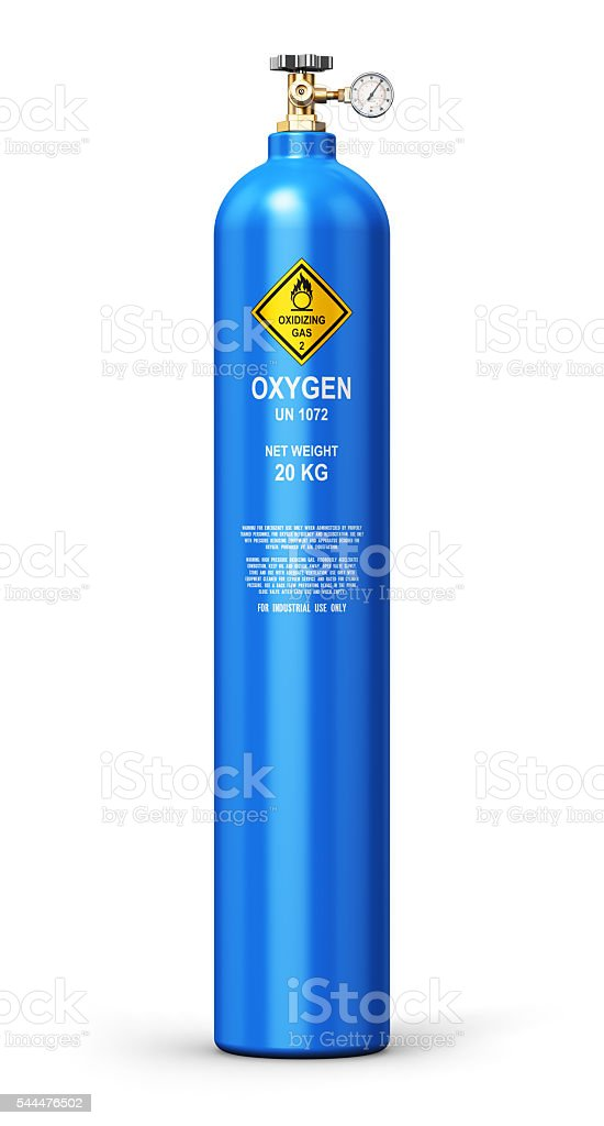 Liquefied oxygen industrial gas cylinder stock photo