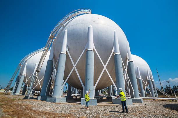 Liquefied Petroleum Gas tanks and Petrochemical Engineers stock photo
