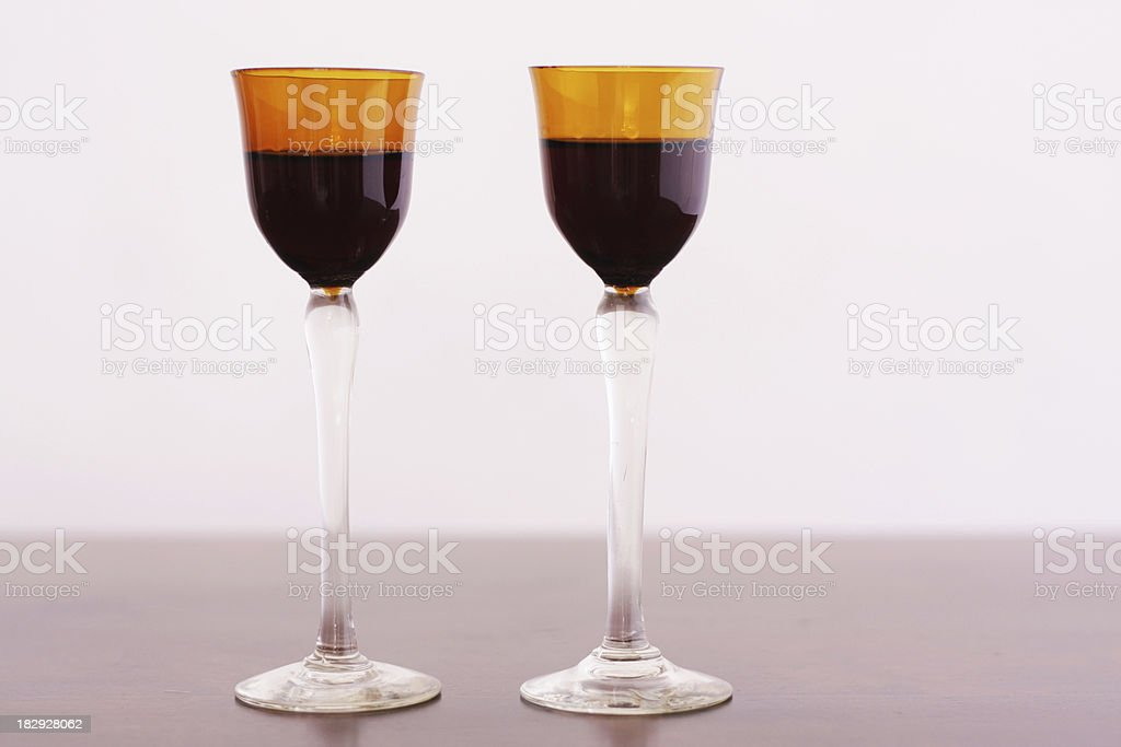 Liqueur in brown glass royalty-free stock photo