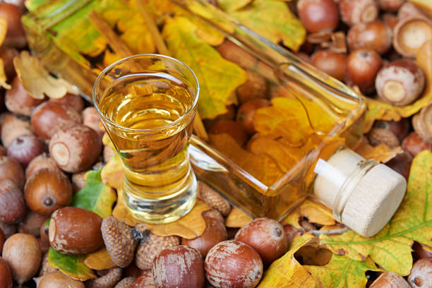Liqueur made from oak tree bark and alcohol stock photo