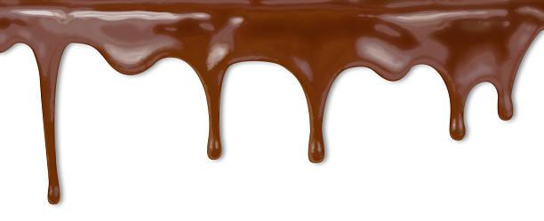 flüssige schokolade tropft von kuchen auf weißem hintergrund mit cli - fondue zutaten stock-fotos und bilder