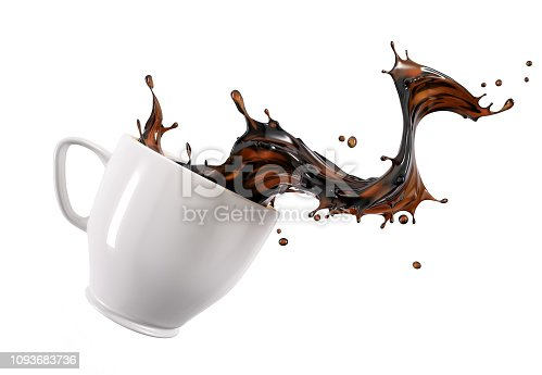 istock Liquid coffee wave splashing out from a white cup mug. 1093683736