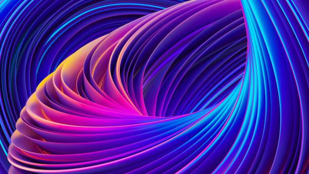 Forme de la courbe liquide dans le fond de motion design fluide coloré abstrait 3D - Photo